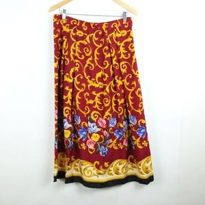 Vintage 90s Silk Red Gold Scroll Floral Midi Skirt